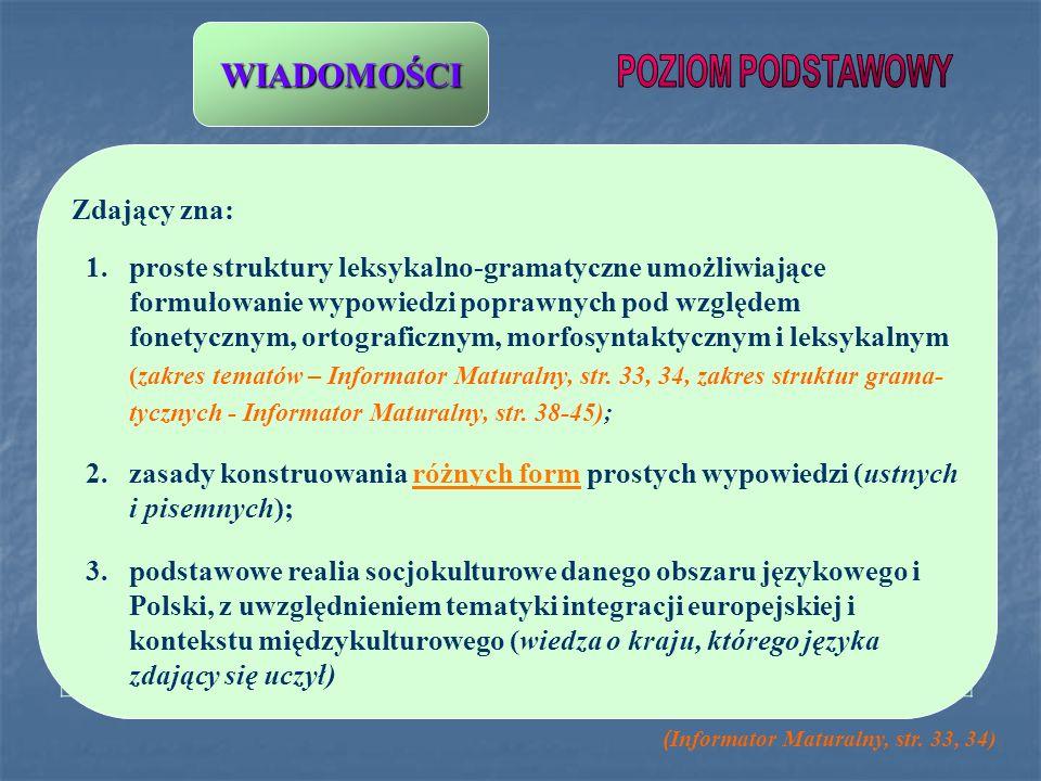 Zdający zna: 1.proste struktury leksykalno-gramatyczne umożliwiające formułowanie wypowiedzi poprawnych pod względem fonetycznym, ortograficznym, morf