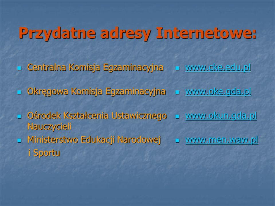 Przydatne adresy Internetowe: Centralna Komisja Egzaminacyjna Centralna Komisja Egzaminacyjna Okręgowa Komisja Egzaminacyjna Okręgowa Komisja Egzamina