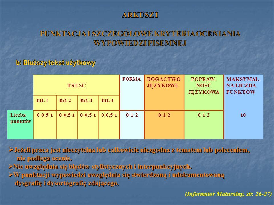 TREŚĆ FORMA BOGACTWO JĘZYKOWE POPRAW- NOŚĆ JĘZYKOWA MAKSYMAL- NA LICZBA PUNKTÓW Inf. 1Inf. 2Inf. 3Inf. 4 Liczba punktów 0-0,5-1 0-1-2 10 (Informator M