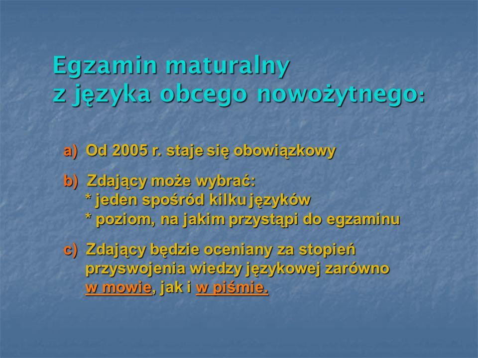 Egzamin maturalny z j ę zyka obcego nowo ż ytnego : a) Od 2005 r. staje się obowiązkowy b) Zdający może wybrać: * jeden spośród kilku języków * jeden