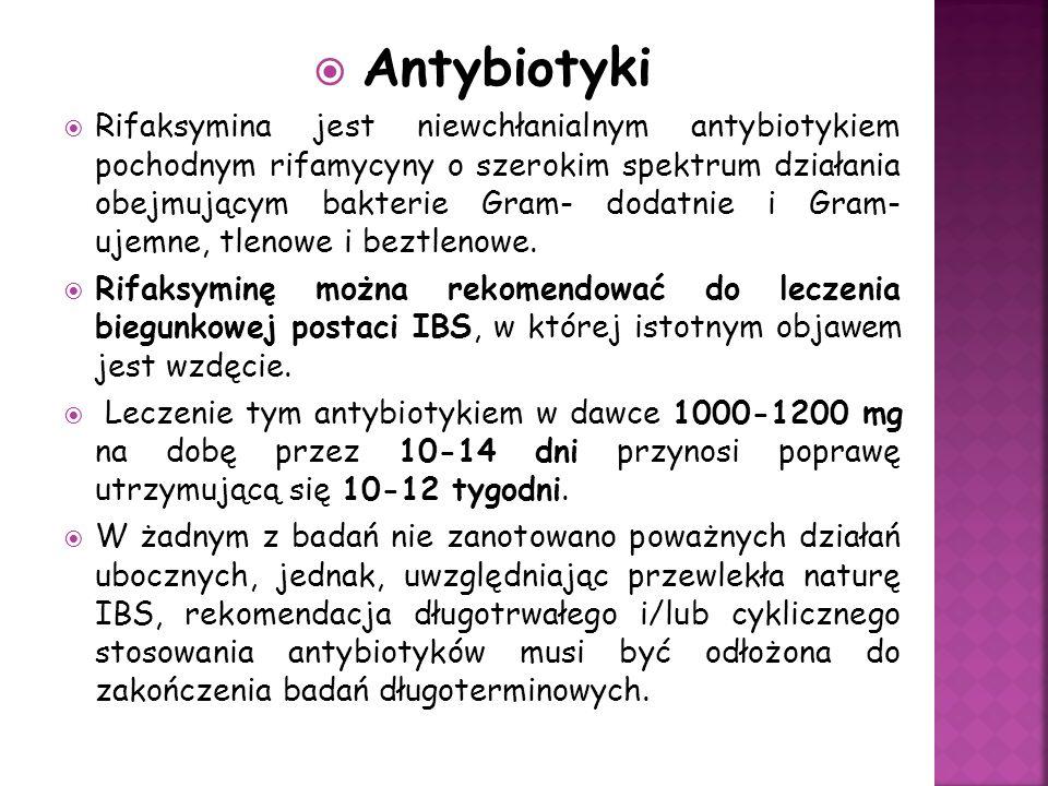 Antybiotyki Rifaksymina jest niewchłanialnym antybiotykiem pochodnym rifamycyny o szerokim spektrum działania obejmującym bakterie Gram- dodatnie i Gram- ujemne, tlenowe i beztlenowe.