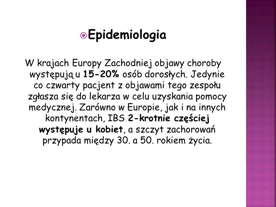 Epidemiologia W krajach Europy Zachodniej objawy choroby występują u 15-20% osób dorosłych. Jedynie co czwarty pacjent z objawami tego zespołu zgłasza