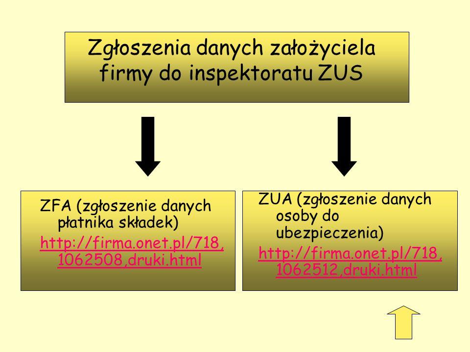 Zgłoszenia danych założyciela firmy do inspektoratu ZUS ZUA (zgłoszenie danych osoby do ubezpieczenia) http://firma.onet.pl/718, 1062512,druki.html ZF