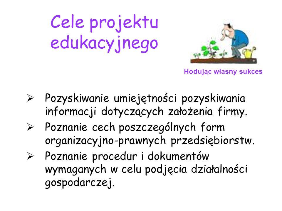 Cele projektu edukacyjnego Pozyskiwanie umiejętności pozyskiwania informacji dotyczących założenia firmy. Poznanie cech poszczególnych form organizacy