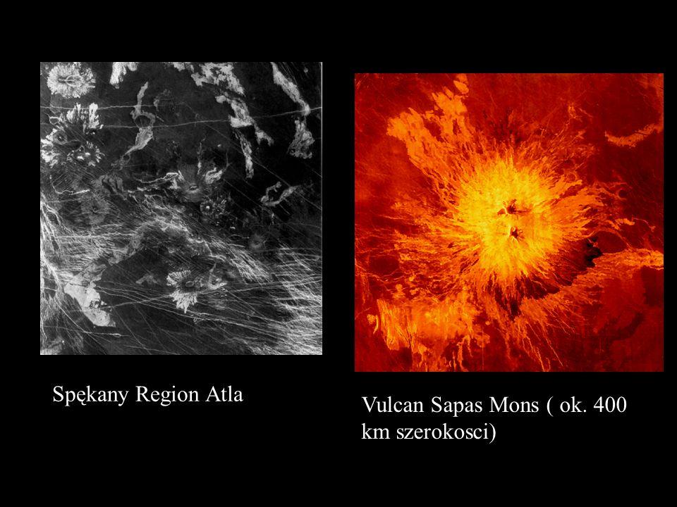 Powierzchnia planety ( zdj ę cia z sondy Magellan ) Korona Aine, jedna z wielu podobnych unikatowych struktur na Wenus ( ok.. 200 km średnicy)