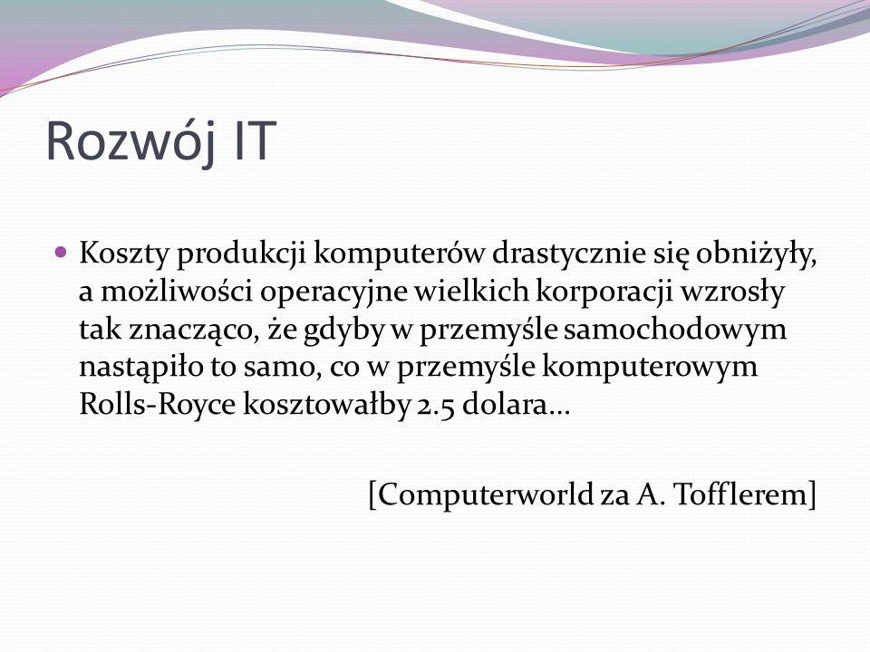 Rozwój IT Koszty produkcji komputerów drastycznie się obniżyły, a możliwości operacyjne wielkich korporacji wzrosły tak znacząco, że gdyby w przemyśle