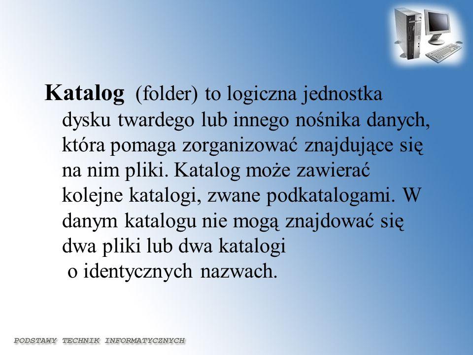Katalog (folder) to logiczna jednostka dysku twardego lub innego nośnika danych, która pomaga zorganizować znajdujące się na nim pliki. Katalog może z
