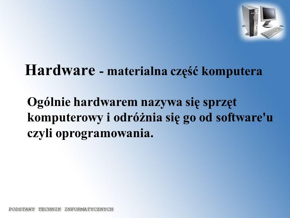 Ogólnie hardwarem nazywa się sprzęt komputerowy i odróżnia się go od software'u czyli oprogramowania. Hardware - materialna część komputera
