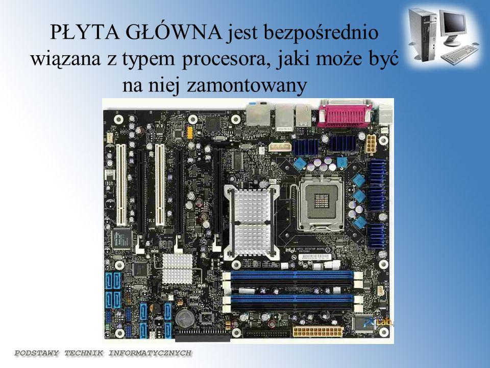 PŁYTA GŁÓWNA jest bezpośrednio wiązana z typem procesora, jaki może być na niej zamontowany