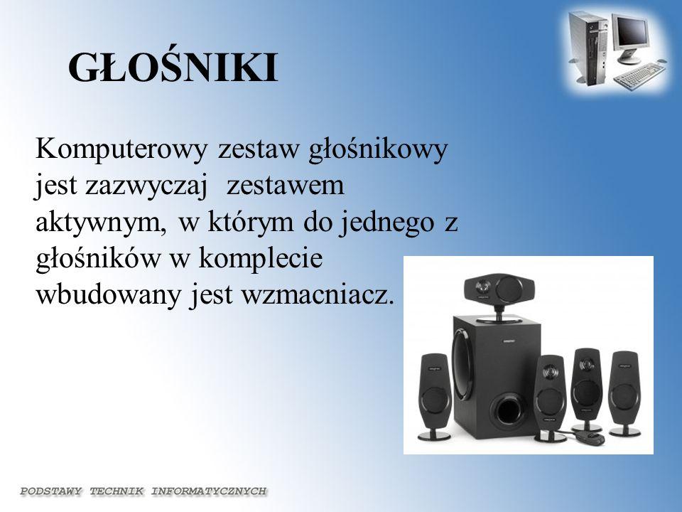 GŁOŚNIKI Komputerowy zestaw głośnikowy jest zazwyczaj zestawem aktywnym, w którym do jednego z głośników w komplecie wbudowany jest wzmacniacz.