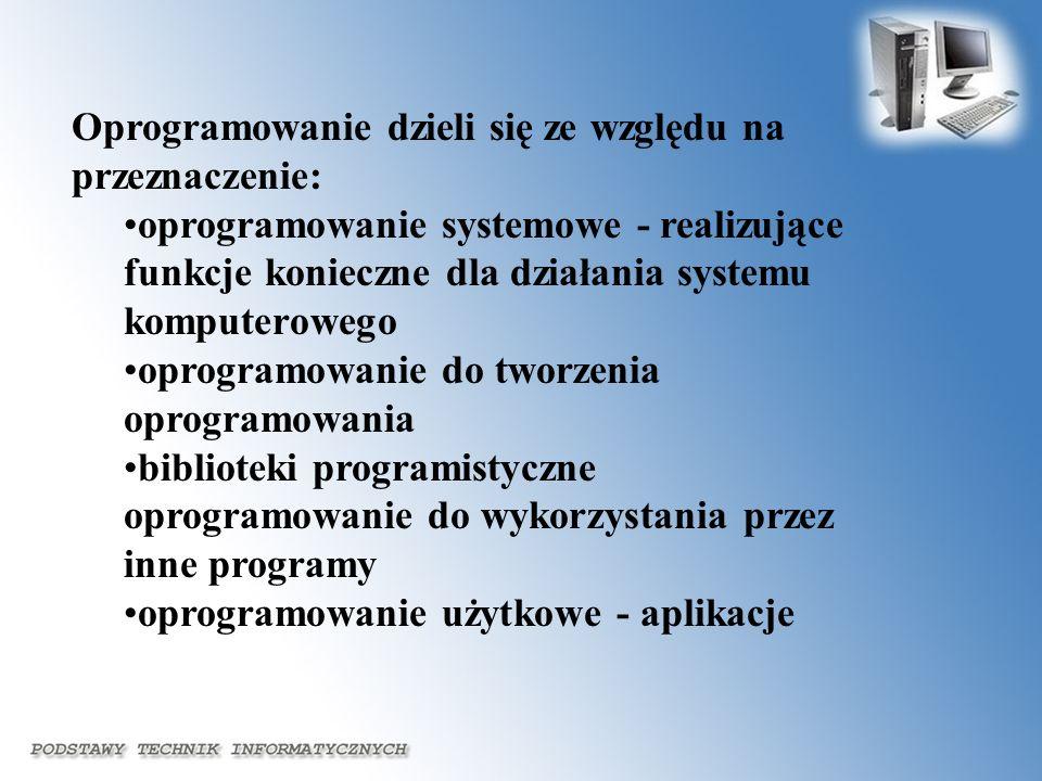 Oprogramowanie dzieli się ze względu na przeznaczenie: oprogramowanie systemowe - realizujące funkcje konieczne dla działania systemu komputerowego op