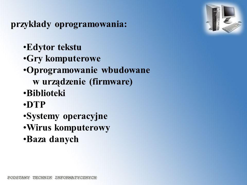 przykłady oprogramowania: Edytor tekstu Gry komputerowe Oprogramowanie wbudowane w urządzenie (firmware) Biblioteki DTP Systemy operacyjne Wirus kompu