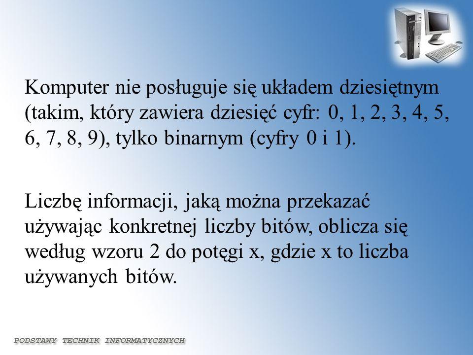 Komputer nie posługuje się układem dziesiętnym (takim, który zawiera dziesięć cyfr: 0, 1, 2, 3, 4, 5, 6, 7, 8, 9), tylko binarnym (cyfry 0 i 1). Liczb