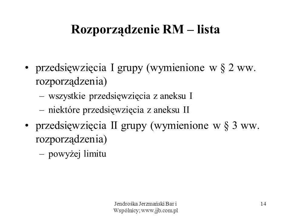 Jendrośka Jerzmański Bar i Wspólnicy; www.jjb.com.pl 14 Rozporządzenie RM – lista przedsięwzięcia I grupy (wymienione w § 2 ww.