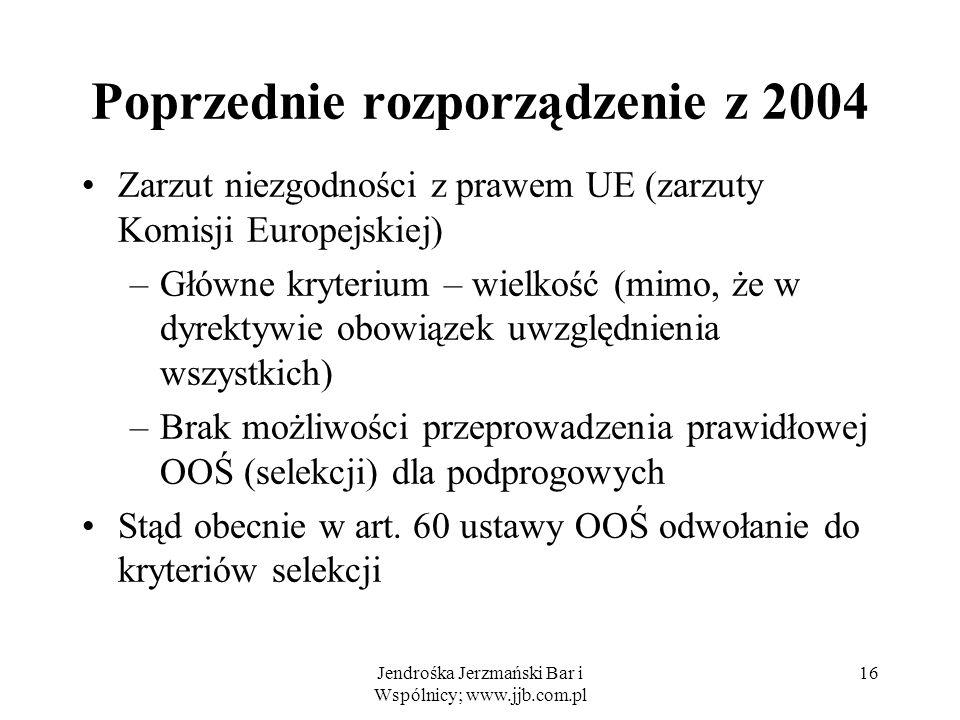 Jendrośka Jerzmański Bar i Wspólnicy; www.jjb.com.pl Poprzednie rozporządzenie z 2004 Zarzut niezgodności z prawem UE (zarzuty Komisji Europejskiej) –Główne kryterium – wielkość (mimo, że w dyrektywie obowiązek uwzględnienia wszystkich) –Brak możliwości przeprowadzenia prawidłowej OOŚ (selekcji) dla podprogowych Stąd obecnie w art.