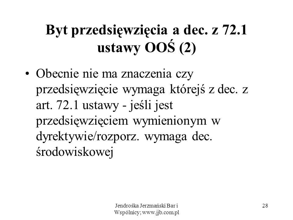 Jendrośka Jerzmański Bar i Wspólnicy; www.jjb.com.pl 28 Byt przedsięwzięcia a dec.