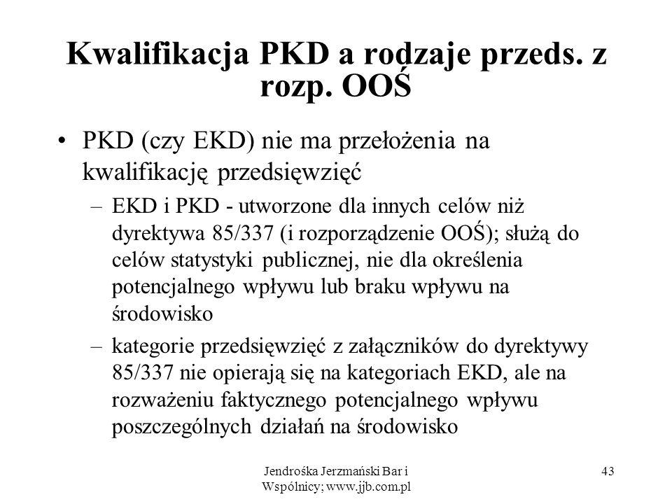 Jendrośka Jerzmański Bar i Wspólnicy; www.jjb.com.pl 43 Kwalifikacja PKD a rodzaje przeds.