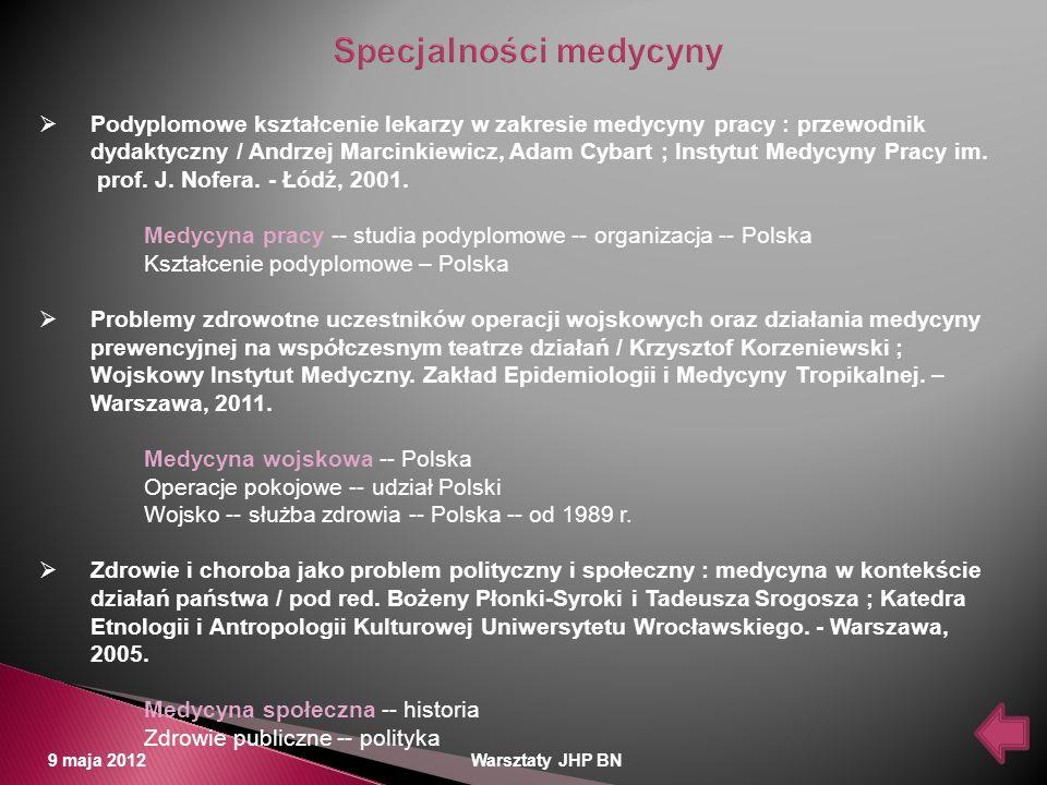 9 maja 2012 Warsztaty JHP BN Podyplomowe kształcenie lekarzy w zakresie medycyny pracy : przewodnik dydaktyczny / Andrzej Marcinkiewicz, Adam Cybart ;