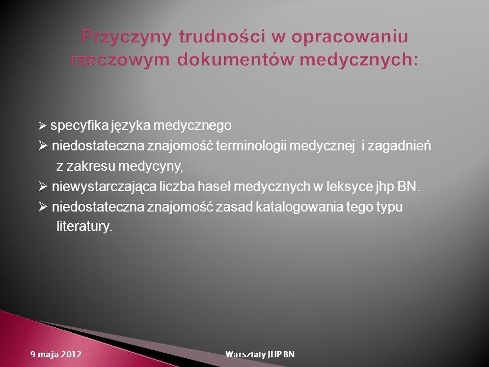 specyfika języka medycznego niedostateczna znajomość terminologii medycznej i zagadnień z zakresu medycyny, niewystarczająca liczba haseł medycznych w
