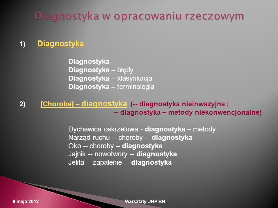 9 maja 2012 Warsztaty JHP BN 1) DiagnostykaDiagnostyka Diagnostyka – błędy Diagnostyka – klasyfikacja Diagnostyka – terminologia 2) [Choroba] – diagno