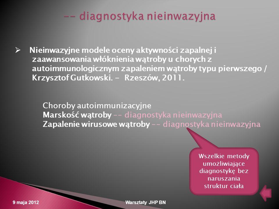 9 maja 2012 Warsztaty JHP BN Nieinwazyjne modele oceny aktywności zapalnej i zaawansowania włóknienia wątroby u chorych z autoimmunologicznym zapaleni
