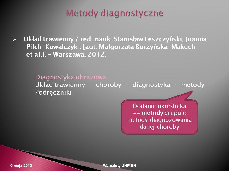 9 maja 2012 Warsztaty JHP BN Układ trawienny / red. nauk. Stanisław Leszczyński, Joanna Pilch-Kowalczyk ; [aut. Małgorzata Burzyńska-Makuch et al.]. –