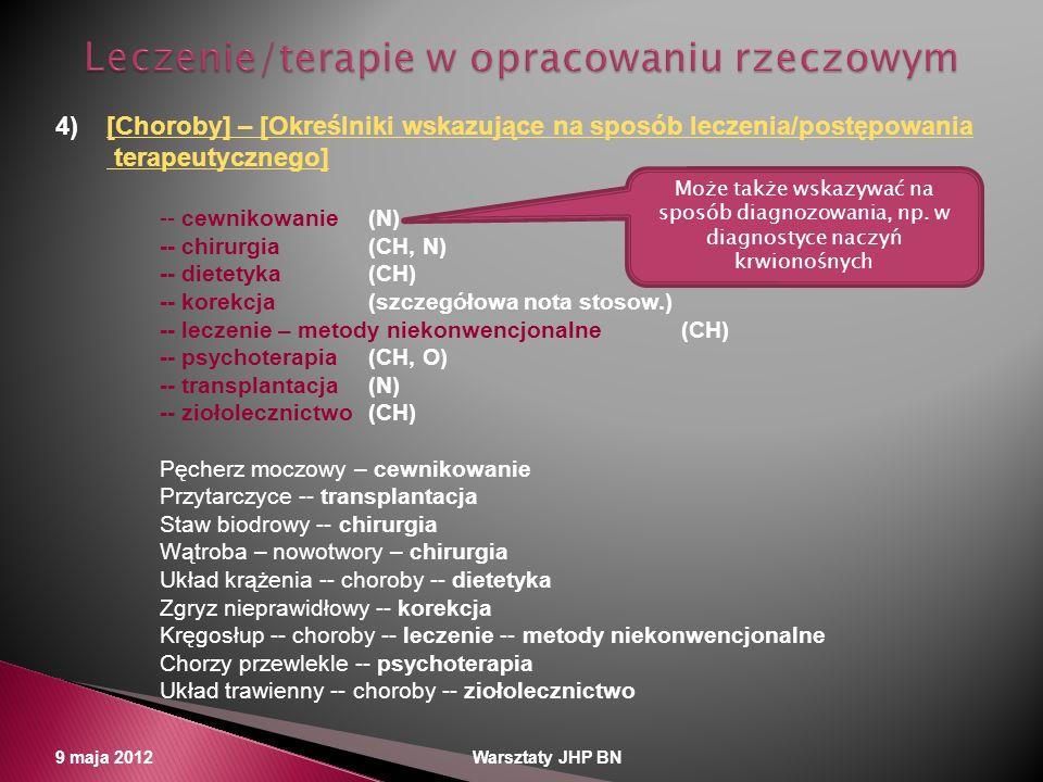 9 maja 2012 Warsztaty JHP BN 4)[Choroby] – [Określniki wskazujące na sposób leczenia/postępowania[Choroby] – [Określniki wskazujące na sposób leczenia