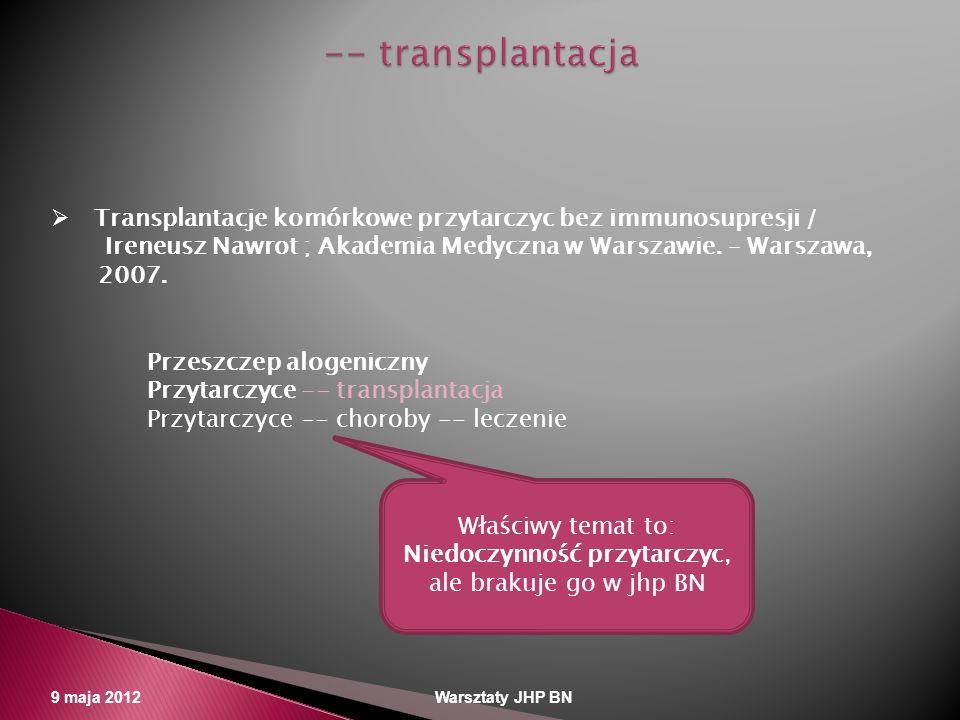 9 maja 2012 Warsztaty JHP BN Transplantacje komórkowe przytarczyc bez immunosupresji / Ireneusz Nawrot ; Akademia Medyczna w Warszawie. – Warszawa, 20
