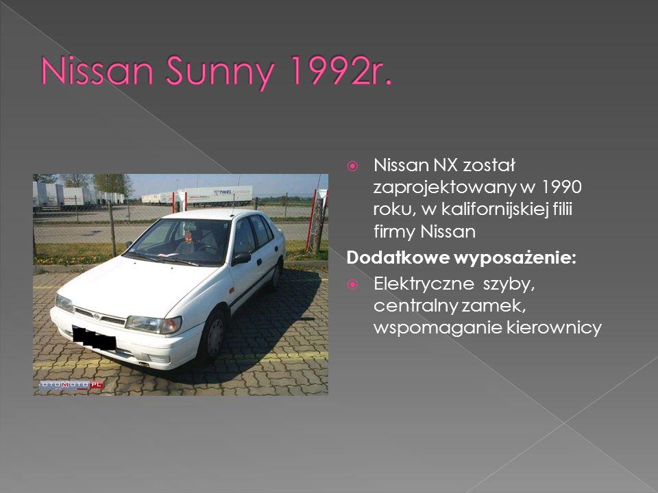 Nissan NX został zaprojektowany w 1990 roku, w kalifornijskiej filii firmy Nissan Dodatkowe wyposażenie: Elektryczne szyby, centralny zamek, wspomaganie kierownicy