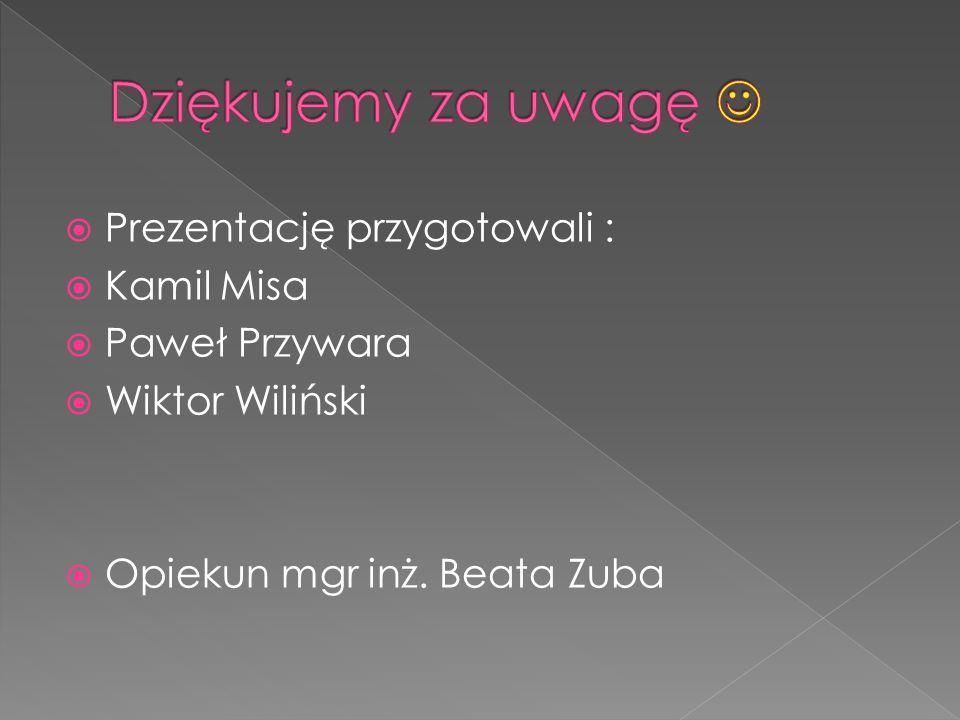 Prezentację przygotowali : Kamil Misa Paweł Przywara Wiktor Wiliński Opiekun mgr inż. Beata Zuba