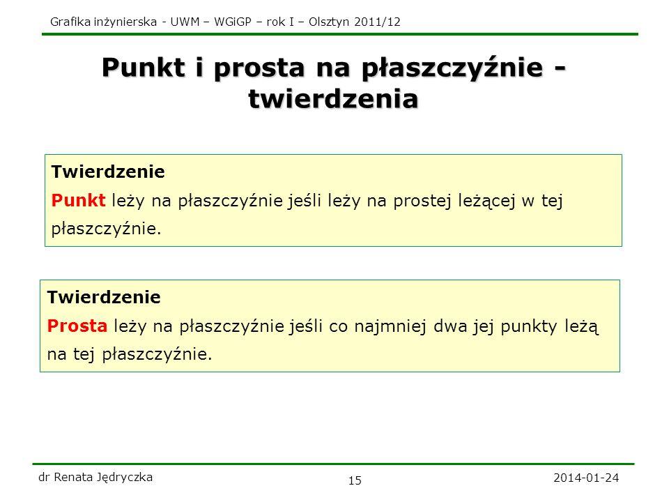 Grafika inżynierska - UWM – WGiGP – rok I – Olsztyn 2011/12 Punkt i prosta na płaszczyźnie - twierdzenia 2014-01-24 dr Renata Jędryczka 15 Twierdzenie