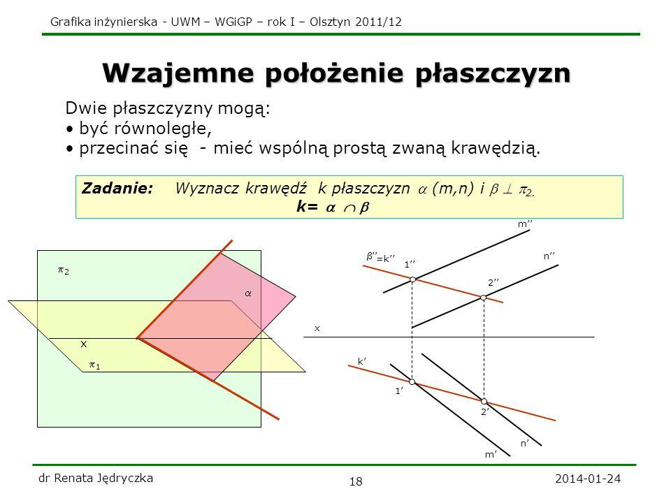 Grafika inżynierska - UWM – WGiGP – rok I – Olsztyn 2011/12 2014-01-24 dr Renata Jędryczka 18 k Wzajemne położenie płaszczyzn Dwie płaszczyzny mogą: b