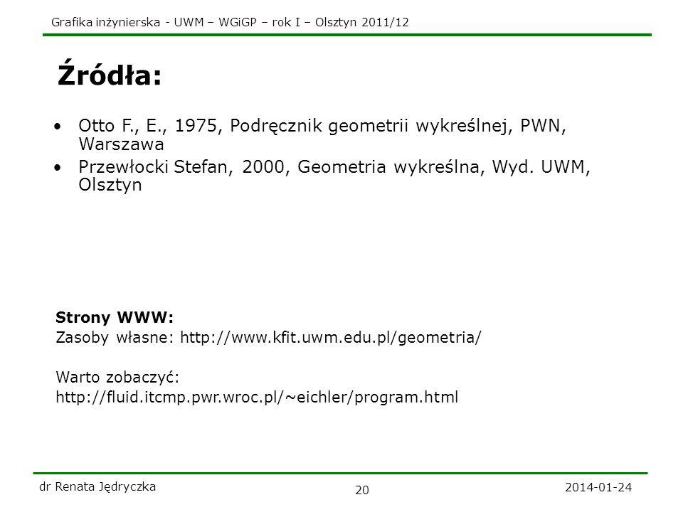 Grafika inżynierska - UWM – WGiGP – rok I – Olsztyn 2011/12 2014-01-24 dr Renata Jędryczka 20 Źródła: Otto F., E., 1975, Podręcznik geometrii wykreśln