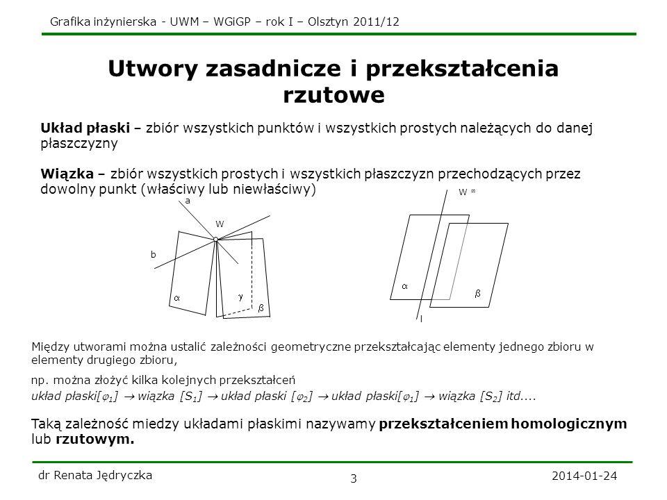 Grafika inżynierska - UWM – WGiGP – rok I – Olsztyn 2011/12 2014-01-24 dr Renata Jędryczka 3 Utwory zasadnicze i przekształcenia rzutowe Układ płaski
