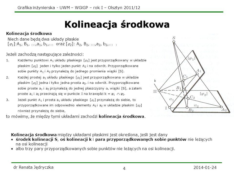 Grafika inżynierska - UWM – WGiGP – rok I – Olsztyn 2011/12 2014-01-24 dr Renata Jędryczka 4 Kolineacja środkowa k Kolineacja środkowa między układami