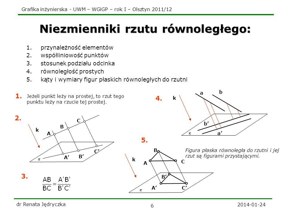 Grafika inżynierska - UWM – WGiGP – rok I – Olsztyn 2011/12 2014-01-24 dr Renata Jędryczka 6 Niezmienniki rzutu równoległego: 1.przynależność elementó
