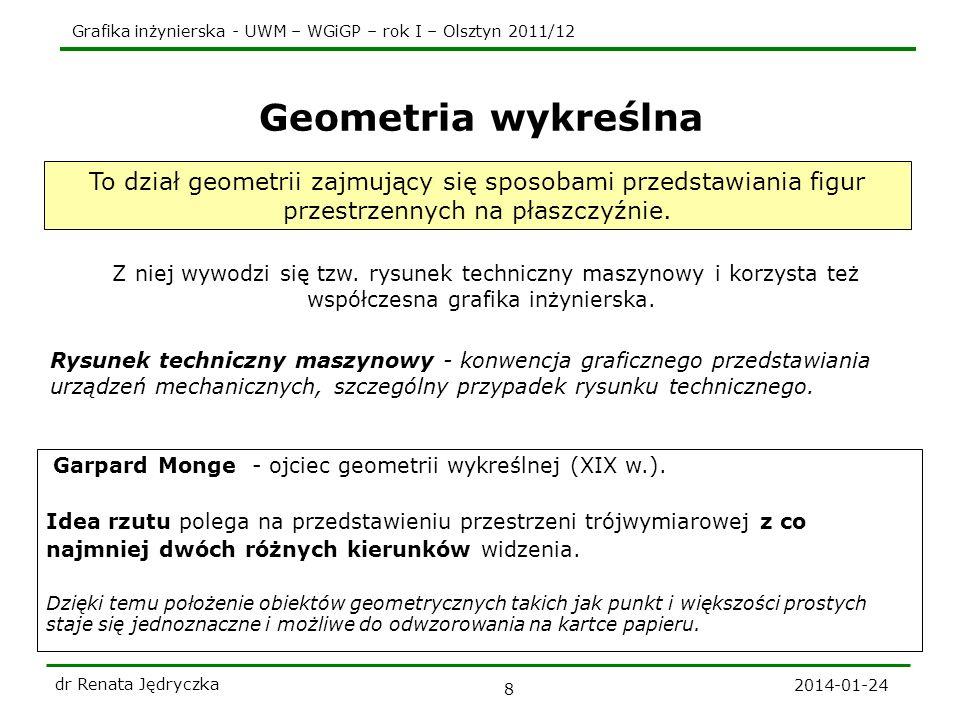 Grafika inżynierska - UWM – WGiGP – rok I – Olsztyn 2011/12 2014-01-24 dr Renata Jędryczka 8 Geometria wykreślna Z niej wywodzi się tzw. rysunek techn