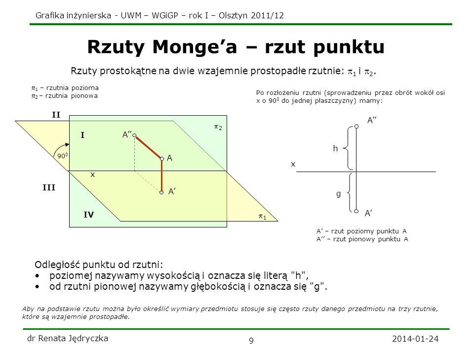 Grafika inżynierska - UWM – WGiGP – rok I – Olsztyn 2011/12 2014-01-24 dr Renata Jędryczka 9 Rzuty Mongea – rzut punktu Aby na podstawie rzutu można b