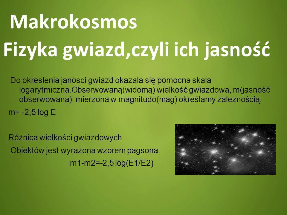 Makrokosmos Fizyka gwiazd,czyli ich jasność Do okreslenia janosci gwiazd okazala się pomocna skala logarytmiczna.Obserwowaną(widomą) wielkość gwiazdow