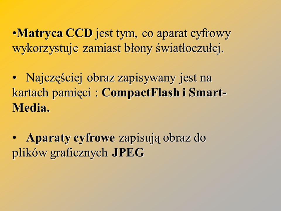 Matryca CCD jest tym, co aparat cyfrowy wykorzystuje zamiast błony światłoczułej.Matryca CCD jest tym, co aparat cyfrowy wykorzystuje zamiast błony św