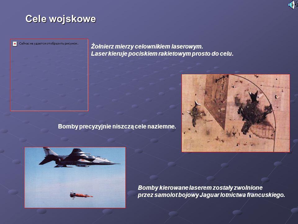 Żołnierz mierzy celownikiem laserowym. Laser kieruje pociskiem rakietowym prosto do celu. Bomby kierowane laserem zostały zwolnione przez samolot bojo