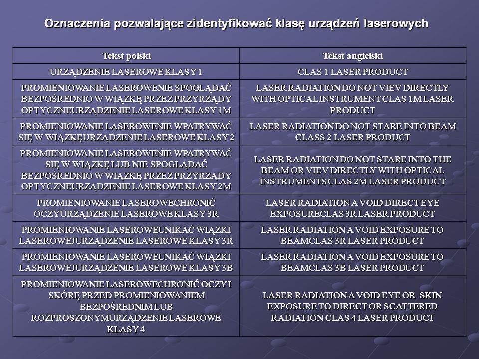 Oznaczenia pozwalające zidentyfikować klasę urządzeń laserowych Tekst polski Tekst angielski URZĄDZENIE LASEROWE KLASY 1 CLAS 1 LASER PRODUCT PROMIENI