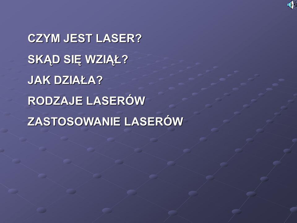 W zależności od ośrodka czynnego rozróżniamy lasery gazowe atomowe, np.
