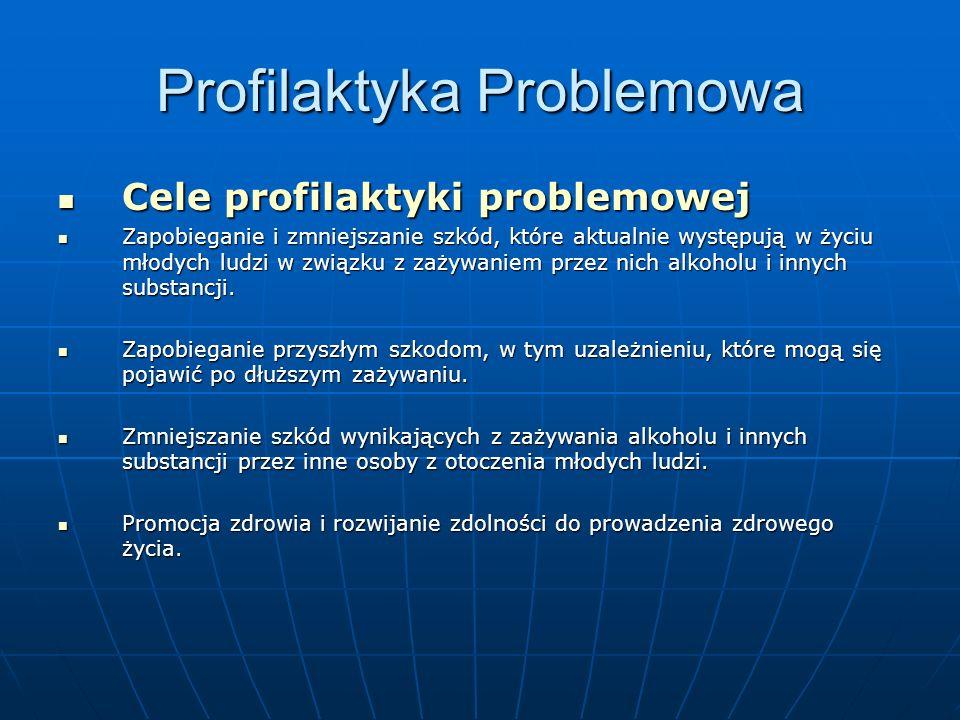 Profilaktyka Problemowa Cele profilaktyki problemowej Cele profilaktyki problemowej Zapobieganie i zmniejszanie szkód, które aktualnie występują w życ