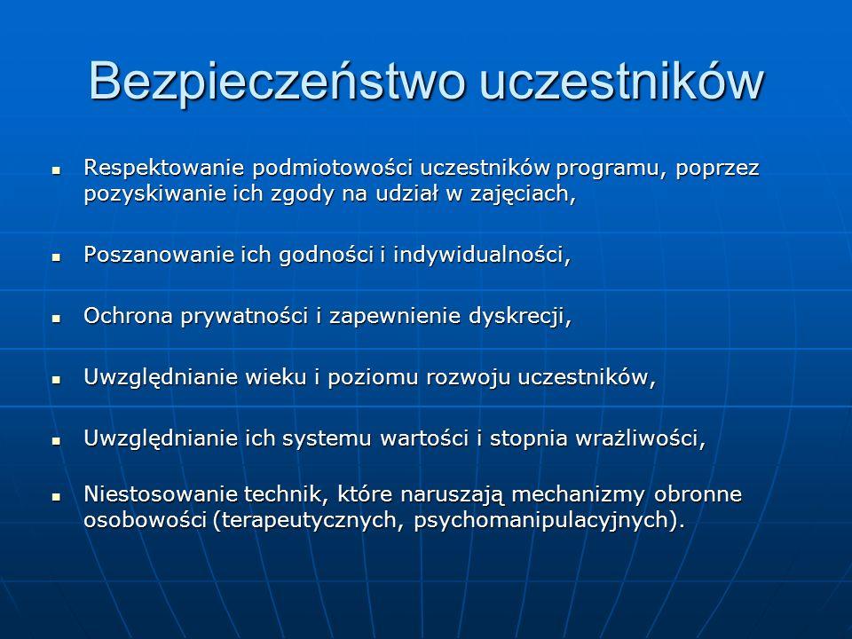 Bezpieczeństwo uczestników Respektowanie podmiotowości uczestników programu, poprzez pozyskiwanie ich zgody na udział w zajęciach, Respektowanie podmi