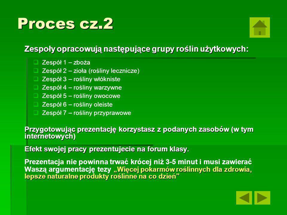 Proces cz.2 Zespoły opracowują następujące grupy roślin użytkowych: Zespół 1 – zboża Zespół 2 – zioła (rośliny lecznicze) Zespół 3 – rośliny włókniste