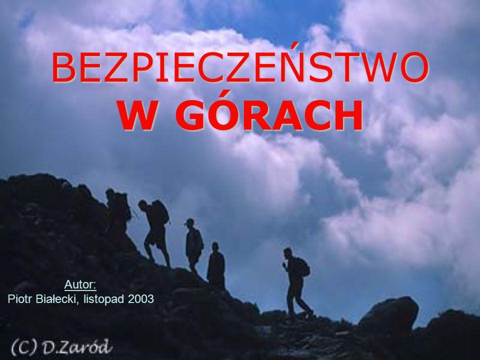BEZPIECZEŃSTWO W GÓRACH Autor: Piotr Białecki, listopad 2003