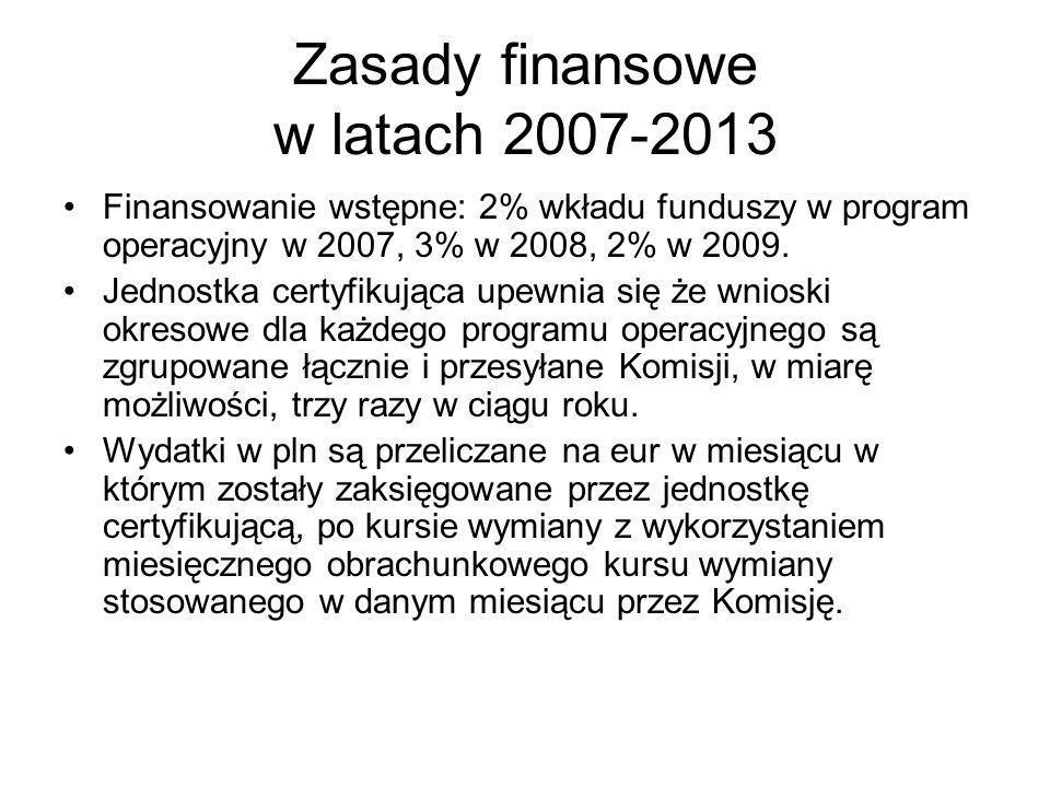 Zasady finansowe w latach 2007-2013 Finansowanie wstępne: 2% wkładu funduszy w program operacyjny w 2007, 3% w 2008, 2% w 2009.