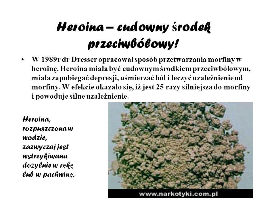 Heroina – cudowny ś rodek przeciwbólowy! W 1989r dr Dresser opracował sposób przetwarzania morfiny w heroinę. Heroina miała być cudownym środkiem prze