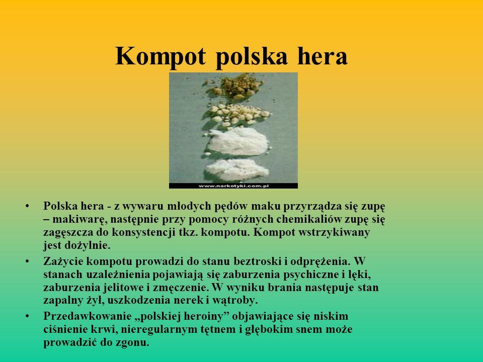 Kompot polska hera Polska hera - z wywaru młodych pędów maku przyrządza się zupę – makiwarę, następnie przy pomocy różnych chemikaliów zupę się zagęsz